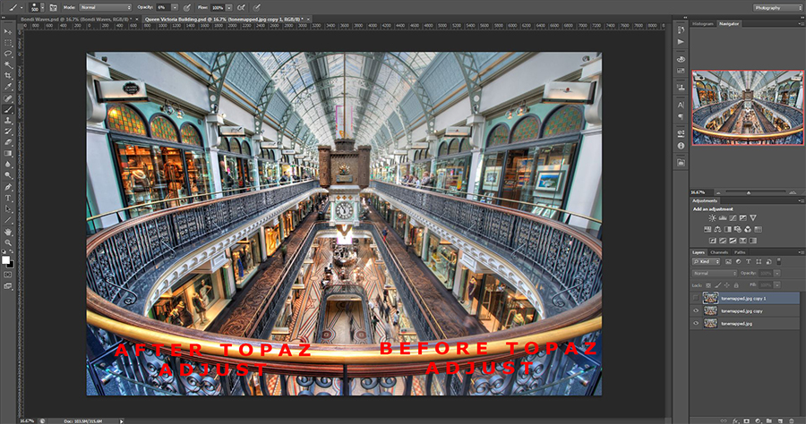 Luke Zeme Photography QVB-Before-and-after Topaz Adjust Overview