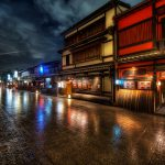 Selecting-A-Restaurant-in-kyoto-japan-night-hdr-rain-philosophers-path
