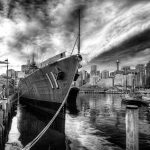 Rope-to-Warship-maritime-museum-sydney-HDR-photo-black-and-white-sydney-Australia