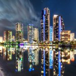 Moonlit-Surfers-paradise-cityscape-buildings-reflected-in-the-water-night-long-exposure